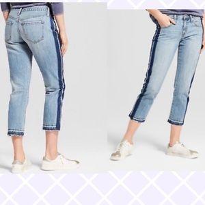 Denim - Side striped two tone boyfriend jeans